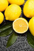 Lemon fruit on wet background — Stock Photo