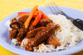 Chinese pork meat with rice — Stock Photo