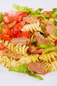 Pasta salad with tuna meat — Stock Photo