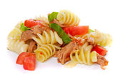 Pasta with tuna meat — Stock Photo