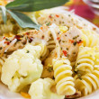 Italian pasta with chicken meat and cauliflower — Stock Photo