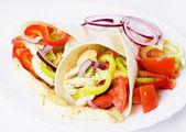 Chicken salad in tortilla wraps — Stock Photo