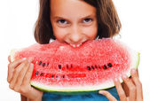 Young girl eating watermelon — Photo