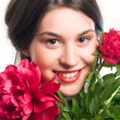Smile and red rose — Stock Photo