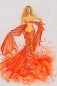 Sketch of fashion woman — Photo