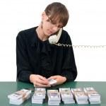 Businesswoman, phone and money — Stock Photo #4225505
