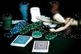 Manikin plays poker — 图库照片