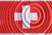 Schweizer flagge unter wasser — Stockfoto