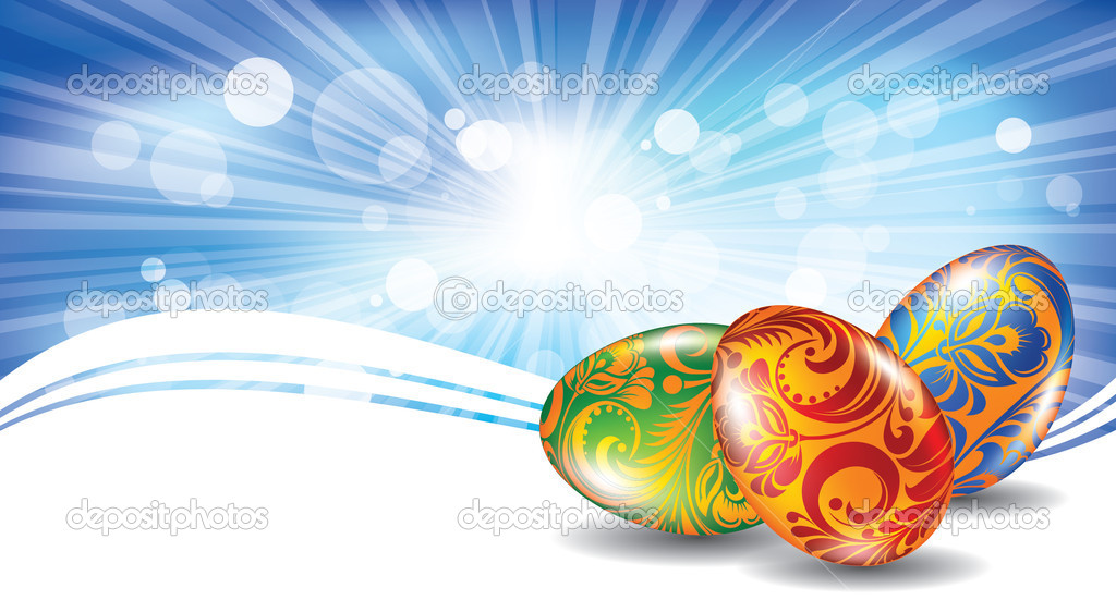 Easter greeting card with colored eggs — Stock Vector #5154707