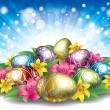 Colored easter eggs with flowers - Stock Vector