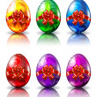 Colored easter eggs with a bow - Stock Vector
