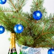 Stock Photo: Christmas decoration on a fir-tree branches