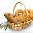 Basket with bread - Stock Photo