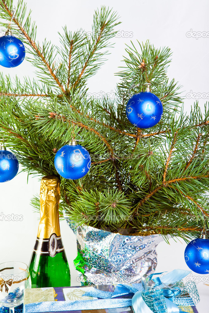 Christmas decoration on a fir-tree branches — Stock Photo #3966457