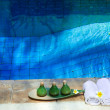 Towels and means for Spa of leaving on the brink of pool — Stock Photo