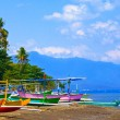 Indonesia. Bali. Traditional national boats on an ocean coast - Stock Photo