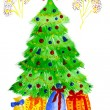 图库照片: Children's picture– ew year,Christmas-fur-tree with garlands