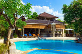 Asia. A tropical country house before pool — Stock Photo