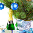 New Year's picture - a branch with New Year's balls — Stockfoto