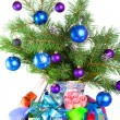 New Year's still-life - fur-tree branches, a tinsel and a gift box — 图库照片