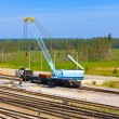 Stock Photo: Rails and technics on repair of ways