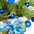 On a New Year tree a gift – jewelry — Stock Photo