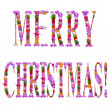 Merry Christmas it is written flowers on lilac letters — Stock Photo