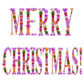 "Merry Christmas"" it is written flowers on lilac letters — Stock Photo"