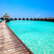 Stock Photo: Maldives. Villon piles on water