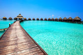 Maldives. Villa on piles on water — Stok fotoğraf