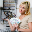 Sad womhousewife counts up money for repair of gas water heate — Stock Photo #4366962