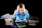 The teenager with a heap of textbooks. Was tired of homeworks. — Stock Photo