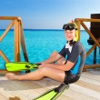 Boy-teenager with flippers, mask and tube at ocean. Maldives — Stock Photo #4540150