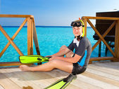 Boy-teenager with flippers, mask and tube at ocean. Maldives — Stock Photo