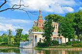 Russia, Peterhof .Olga s Pavilion on island in Olga's pond. — Stock Photo