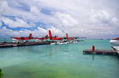 Maldives. A seaplane at a mooring at ocean. — Stock Photo