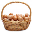 Royalty-Free Stock Photo: Eggs in basket on white background