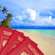 Royalty-Free Stock Photo: International passports of Russia against a tropical beach