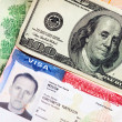 The American visa on page of the Russian international passport and US doll — Stock Photo
