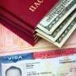 The American visa on page of the Russian international passport and the pas — Stock Photo #5224340