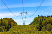 High-voltage line of electricity transmissions on field — Stock Photo