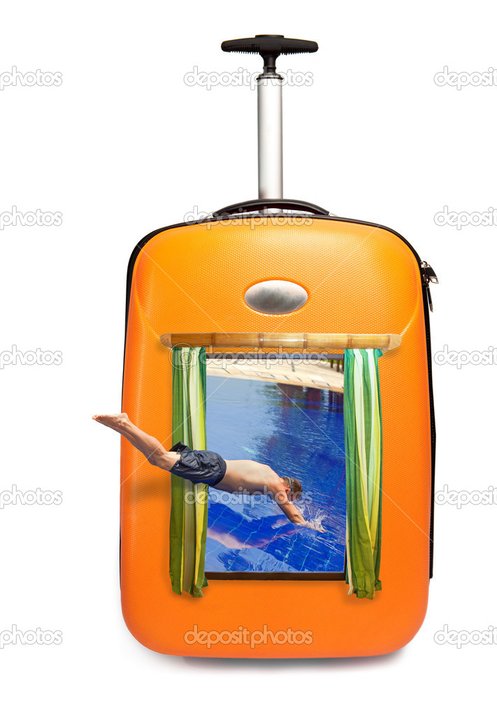 It is time on rest - The man jumps in pool which is visible in a road suitcase! — Stock Photo #5301797