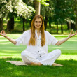 Yoga outdoor pose — Foto de Stock