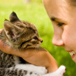Girl and kitten — Stock Photo #4077440