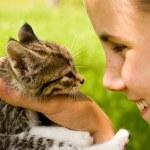 ragazza e gattino — Foto Stock