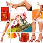ショッピング女性コラージュ — ストック写真