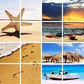 Horário de verão viagem colagem. — Foto Stock