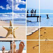 Estate tempo di viaggio collage. — Foto Stock