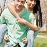 Young couple fun outdoors — Stock Photo