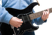Teenager playing electric guitar on white background — Stock Photo